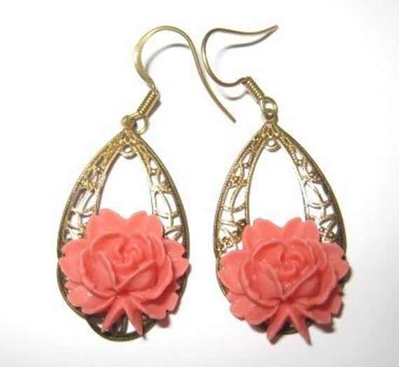 Antique brass filigree rose earring