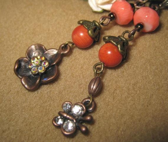 SALE - copper coral flora earring