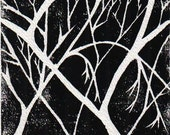 Winter Trees Limited Edition Hand Pulled Linocut in Black