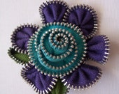 Purple and Bright Turquoise Floral Brooch / Zipper Pin by ZipPinning 1188
