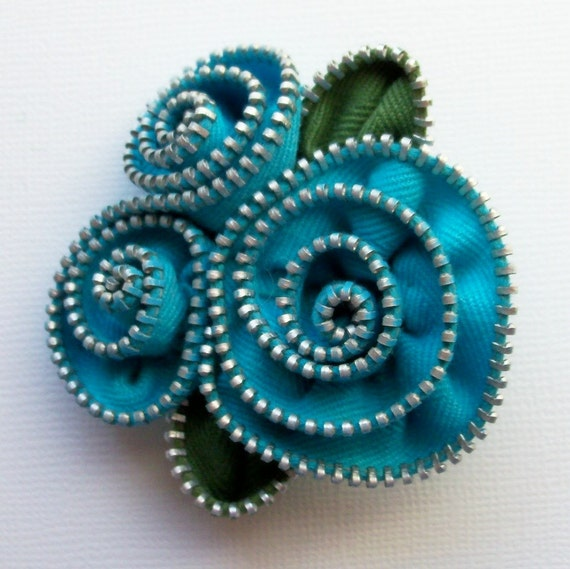 Turquoise Spiral Floral Brooch / Zipper Pin by ZipPinning 2151