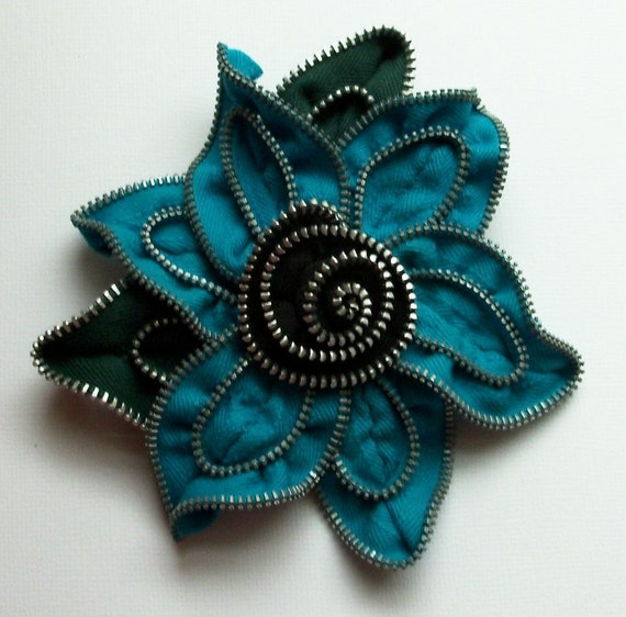 Bright Turquoise / Teal Blue and Black  Floral Brooch approx 4.5 inches, 11 cm by ZipPinning 2199