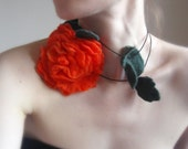 Felt Necklace,Rose,Hand Felted Necklace,Lariat