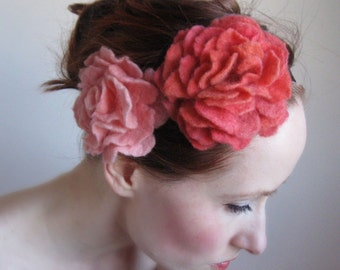 Afternoon Delight-Peach and Pink Floral Headband/Headpiece,Hand Felted From Wool