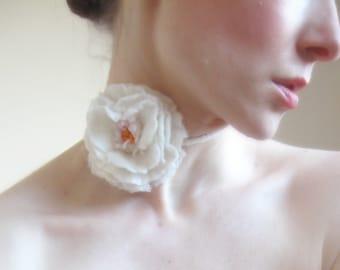 Allure -White Rose Felt Necklace-Choker-Hand Felted  Bridesmaid gift idea