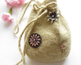 Drawstring Bag hand Felted From Wool