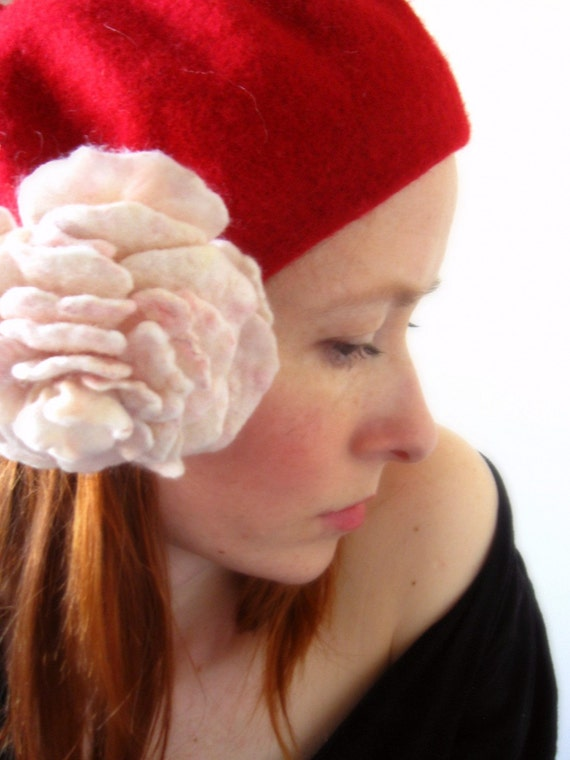 Crista Red Pure Wool French Style Beret