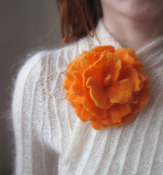 Bright Orange and Yellow-Felt Flower Brooch-Hand Felted-Large Size