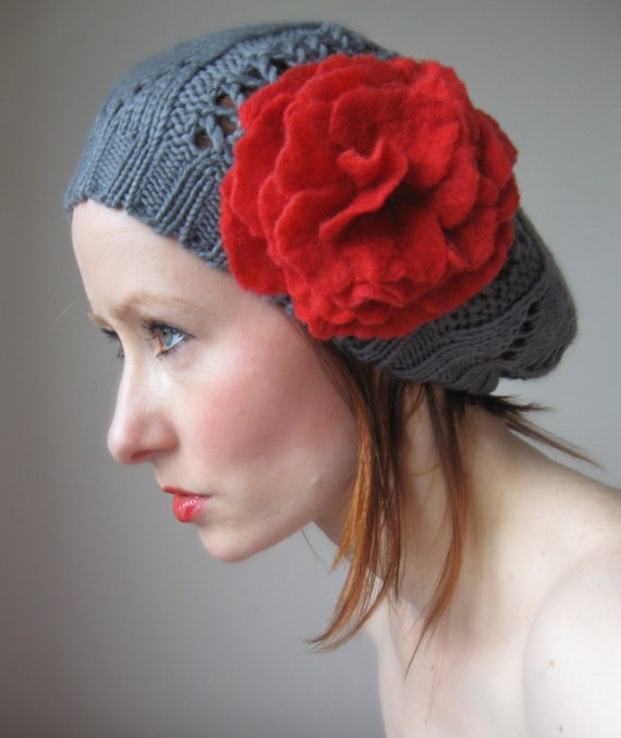 FREE SHIPPING Grey Knit Beret With Felted Rose-Hand felted From Wool