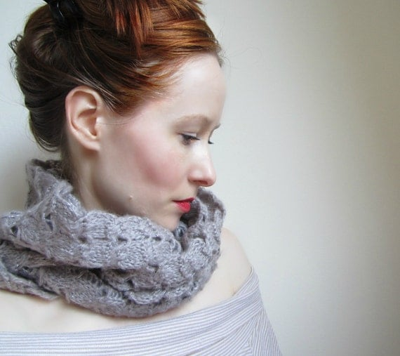 Long Knit Scarf with Eyelet Pattern in Taupe Color Ready To Send