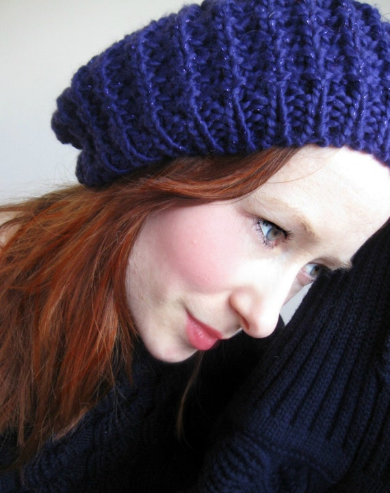 Purple Knit Beret With Metalic Thread Hat For Her Ready To Send
