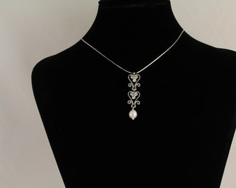 Freshwater Pearl/Rhinestone Bridal Pendant. Listing  70781449