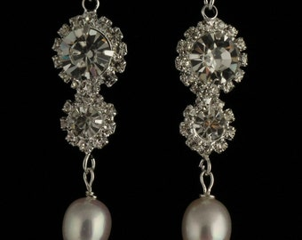 Rhinestone and Freshwater Pearl Earrings