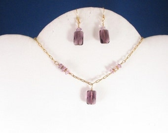 Amethyst and Glass Necklace Set. listing 19760178