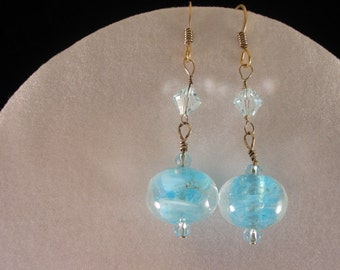 Blue Glass Earrings. Listing  20850806