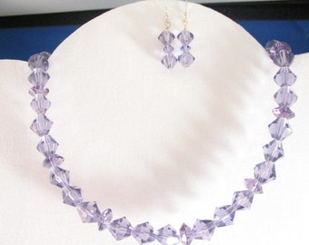 Tanzanite Glass Necklace Set. Listing  21524751