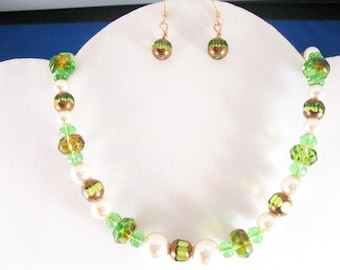 Glass Beads and Pearl Necklace Set. Listing   21625372