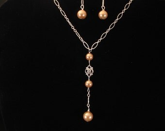 Glass Pearl Bridesmaid Necklace Set. Listing 22364628