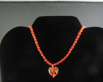 Glass Heart Pendant Necklace. Listing  25761117