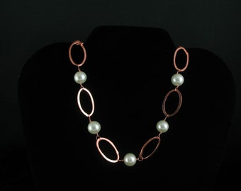 Glass Pearl and Copper Necklace. Listing 24348057