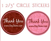 Stickers - 100 Personalized Round Thank You Stickers - Swirly Motif - Add Your Etsy or Other Web Address