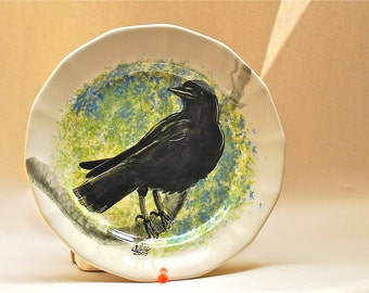 Black Crow raven  plate hand painted original design ooak