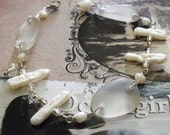 Winter wHITE Frosty  sea Glass and Stick Pearl Charm Bracelet - oceangirlcollection