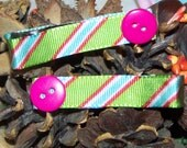 lime green striped hair clippies with button reserved