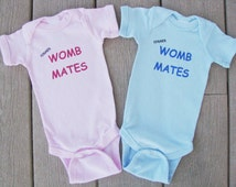 Former Womb Mates Twin baby bodysuits.  White Long Sleeve available