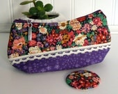 Cosmetic/Makeup Pouch With Matching Pocket Mirror in Purple Floral Liberty of London Fabric and Lace - MS06
