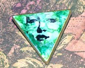 Altered Art Triomino Lady Face Pin