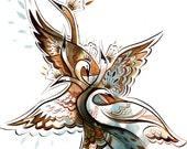 six swans fairytale -8.5x11 print