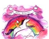 magical unicorn rainbow birthday card