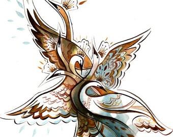 six swans fairytale watercolor illustration -8.5x11 print