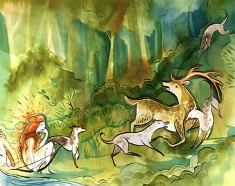 artemis and actaeon myth watercolour illustration -8.5x11 print