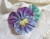 Ribbon Flower Pansy and Leaf Pin Brooch Twilight Blue and Purple