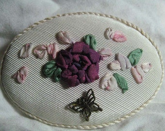 Silk Ribbon Embroidery Brooch Pin Ivory and Wine Roses
