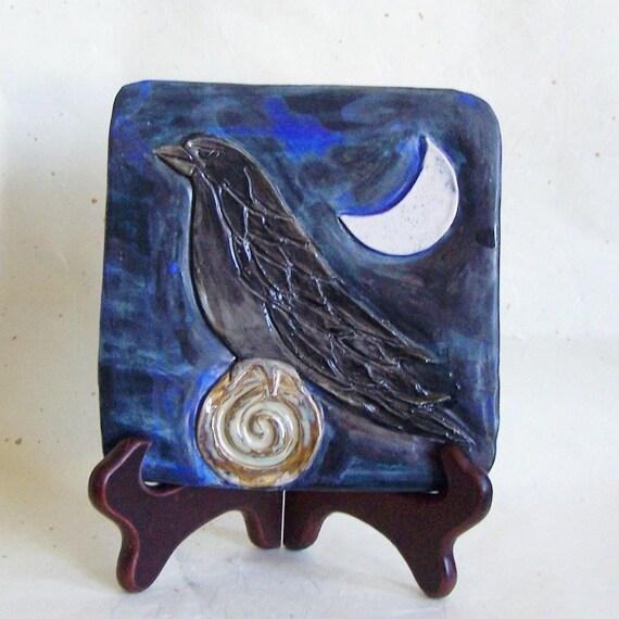 Sculpted Black Raven Tile