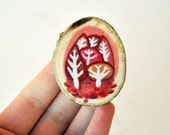 autumn brooch eco-friendly wood pin forest