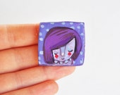 purple girl brooch illustrated jewelry