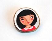 wood brooch girl