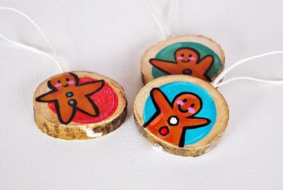 SALE Gingerbread men wooden Ornaments eco friendly wood decoration
