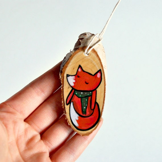SALE Eco friendly Christmas Fox Ornament, Wooden Holiday Home Decor