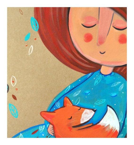 Girl with fox portrait print