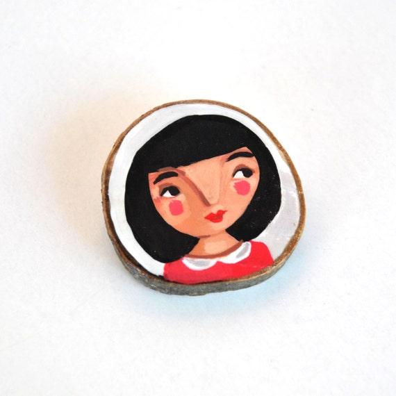 wood brooch girl