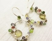 """OOAK Gemstone Hand Forged Earrings """"My Mother's Garden"""": tourmaline citrine woodland agentium for her gift holiday under 150"""