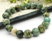 Natural African Turquoise & Gold Beaded Bracelet under 50