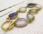 Gemstone Gold Bracelet / 14k Gold Vermeil Mixed Stones Amethyst Quartz Citrine Aquamarine Rock Crystal gold colorful easter mothers day