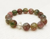 Rainbow Agate Sterling Silver Bead Bracelet : tourmaline colorful fresh spring romantic white green pink