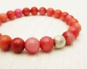 Jade & Sterling Silver Bead Bracelet / orange pink red candy watermelon byjodi pop modern retro gumball bright strawberry fresh summer 50s